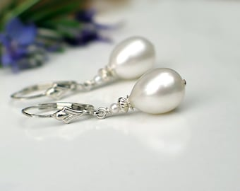 Teardrop Pearl Earrings | White Freshwater Drop Pearl | Sterling Silver Fleur De Lis Leverback Dangles | Birthday | Everyday | Ready to Ship