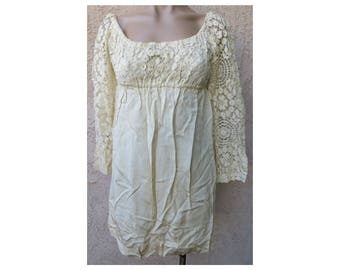 Vintage 1960's off white crochet lace long sleeve empire waist mini dress boho hippie
