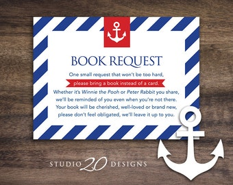 Instant Download Blue Red Nautical Book Request, Anchor Book in Lieu of Card, Navy Sailor Theme Baby Shower Book Instead of Card 26A