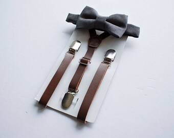 Boy Leather Suspender Charcoal Bow Tie, Baby Boy Clothes, Suede Bow Tie, Ring Bearer Outfit, Country Wedding, Baby Boy Bow Tie, Boys Clothes