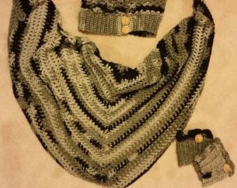 Grey scarf set