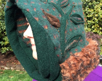 Festival Hood Hat, Elf Pixie Faerie Woodland, Felted Upcycled Wool Sweaters, Appliqued Leaves, #HD126