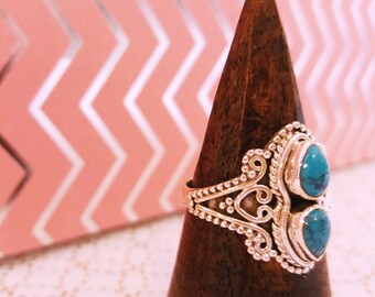 Turquoise silver ring - Vintage style jewelry victorial gothic boho jewels