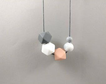 Baby Friendly Silicone Necklace - Pink Grey Marble White | New Mum Gift | Baby Shower Gift | Geometric necklace | gift for her