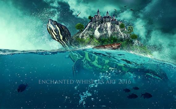 Surreal turtle Island fantasy art print