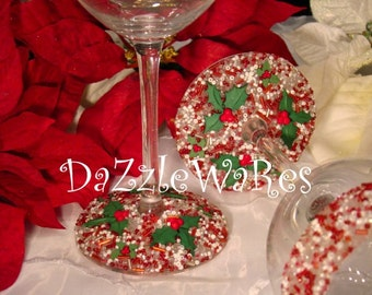 CHRISTMAS Wine, Martini or Flute Glass Set of 2 - Holly Berries-Hand Beaded- Holiday Gifts -Holiday Decor-Couture Inspired-Xmas-Hostess Gift