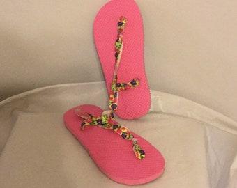 Pink Flip Flops with Floral Straps