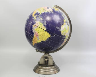 "Vintage Globemaster 12"" Dark Blue Ocean Globe By Repologle , Made in USA, Item No. 15925"