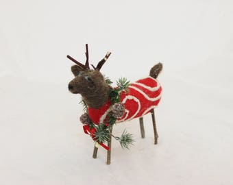 Reindeer, Needle felted Reindeer, Reindeer in Jammies,  Felt Red Christmas Deer 2887