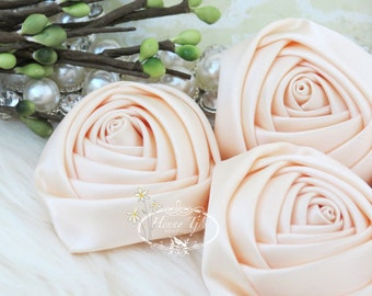 Sierra: 4pcs CHAMPAGNE  - 50mm Adorable Rolled Satin Rose Rosettes Fabric flowers. Hair Accessories. Fascinator. Silk Rose Rosette Flowers.
