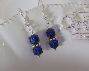 Silver EARRINGS | Handmade Jewelry | Cobalt Blue Cathedral Czech Glass Beads | Silver Spacer Beads | Dangle Earrings