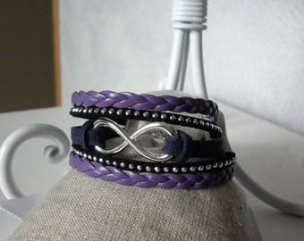 faux leather and suede plum, purple and black bracelet