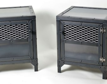 Industrial End Table Set - Side Table Set  - Night Stand set