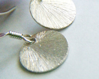 Sterling silver brushed disc earrings Dainty earrings Minimalist sterling jewelry Silver earrings Brushed silver jewelry Gift for her