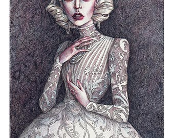 "Lady Gaga ""The Countess"" A5 Art Print / American Horror Story Hotel artwork / Victorian Vampire illustration by Daniel Fernández"