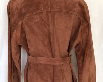 Suede Jacket,Belted,3 buttoned,Dark Copper Color,Medium