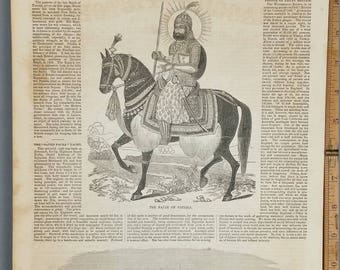 The Rajah of Patiala on Horseback 1854. The Sayed Pacha Steam Yacht. Large Antique Engraving, About 11x15