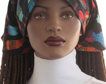 African Print Women Dread Scarf Cotton Tie Back Scarf for Full Dread Locks Long Braids Twists Chemo Scarf Tichel Scarf Handmade