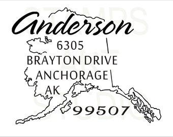Alaska, Square Stamp, Self Inking Address Stamp, Address Stamp, Custom Address Stamp, Return Address Stamp, Housewarming Gift - AK