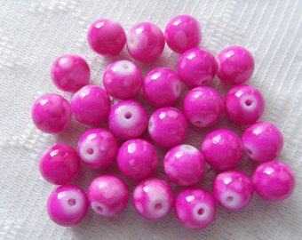 26  Hot Pink Magenta Marbled Opaque Round Ball Glass Beads  8mm