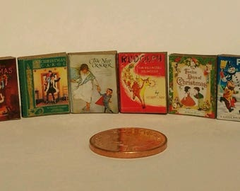 SET of 6 MINIATURE Christmas books with text- .Handmade new 1:12th Scale
