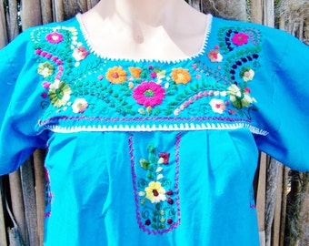 Mexican Dress, Embroidered Mexican, Blue Mexican dress, Teal Mexican dress, Frida Kahlo, size XS