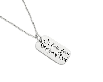 Personalized Handwriting Necklace - Rectangle Handwritten Note - Custom Jewelry - Engraved Necklace - Handwriting Keepsake - Gift Her - 1309