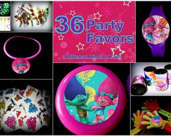 Trolls - 36 Party Favors Combo-Toys  Prizes Pinata Filler Pack Patrol Noisemakers Grab Bag