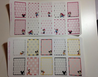 Disney Mickey and Minnie inspired planner square Stickers , Erin Condren, Filofax, Scrapbooking