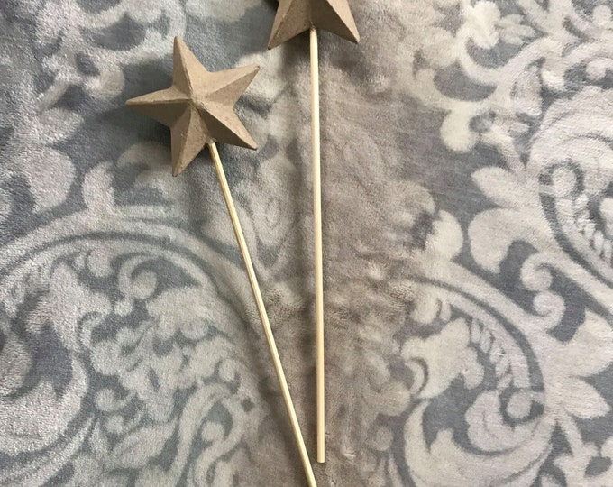 Paper Mache Star Wands, You Decorate, You Imagine, Play, Party Favor, Photo Prop, Wedding, DIY set of 2
