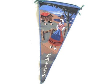 Galicia Souvenir Pennant, Small Vintage Painted Flag from Spain