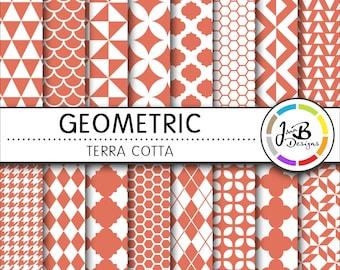 Geometic Digital Paper, Terra Cotta, Orange, White, Tribal, Tiangles, Digital Paper, Digital Download, Scrapbook Paper, Digital Paper Pack