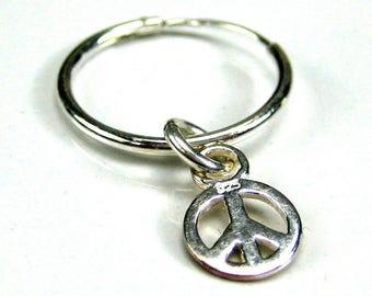 Earring hoop sterling silver peace N3486 man