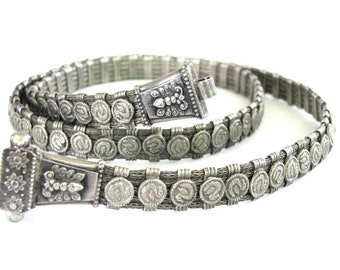"Vintage Indian Snake Chain Belt, 5 Braided Strands, 86 Separators, Heavy, Solid, High Grade Silver, Rajasthani Belt, 75cm(29 1/2""), 145Grams"