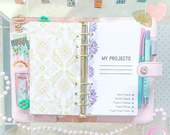 PROJECT PLANNER Filofax Personal 3.7 6.7 Printable pdf Steps Tracker Goal Budget Supplies Inserts Organizer. Instant Download