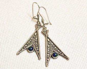 Sterling Silver Ethnic Earrings , Blue-Green Earrings, Triangle Earrings