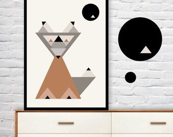 GEOMETRIC FOX wall art print