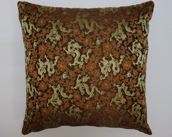 100% Pure chinese silk brocade cushion. Dragon design in chocolate, copper and ivory.