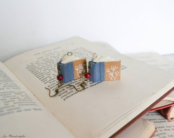 Books earrings with white dandelion and red wooden bead. Light blue miniature books jewelry