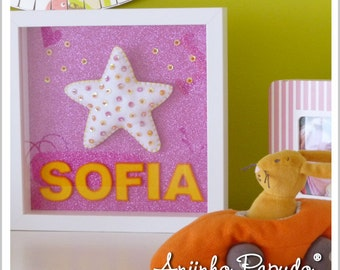 Personalized Frame for Kids Room - Name and Star!