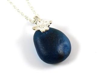 Rare Cobalt Blue anglais Sea verre collier Multi - SOFIA - mer verre collier - mer Rare verre - Seaham