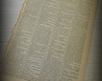1858 Polish-French Dictionary Pages for Collage