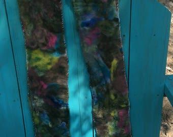 ooak needle felted scarf multi colored