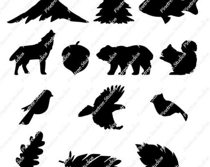 Nature SVG Digital Download ~ 13 Images / Cuttable / Clip Art / Stencil / Silhouette / Cricut / Printable / Color Book / Decal