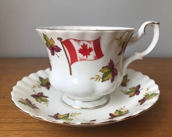 "Royal Albert ""From Sea to Sea"" Tea Cup and Saucer, Canada Flag Maple Leaf Teacup and Saucer, Canadian Souvenir, Bone China"