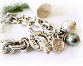 Bold .925 Sterling Silver Genuine AA Tahitian Pearl Bracelet - Rustic Bold Dangles VI