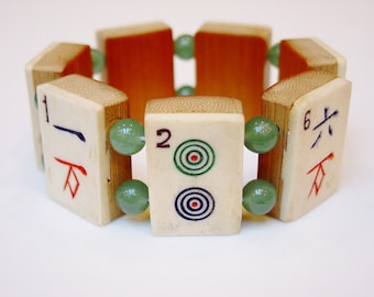 Mah Jong Tile Bracelet / Vintage / Bone and Bamboo / Dovetailed / Hand-carved / Jewish Gift / Jewish / Judaica / Asian / Gift / Jewelry