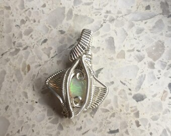 The Coralie- opal stone pendant wrapped with sterling silver. Opal pendant. White opal. Green opal. Orange opal. Wire wrapped pendant.