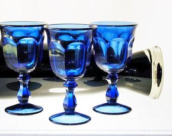 Imperial Glass Old Williamsburg Antique Blue Goblet Set