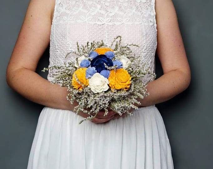 Sunny yellow navy blue and ivory sola flowers wedding BOUQUET dried limonium satin ribbon Flower girl Bridesmaids elegant custom toss